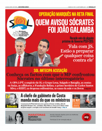 capa Jornal SOL de 2 setembro 2017