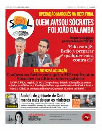 capa Jornal SOL de 3 setembro 2017