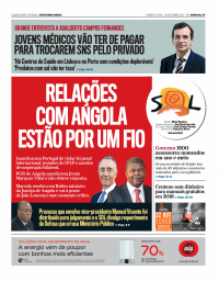 capa Jornal SOL de 25 setembro 2017
