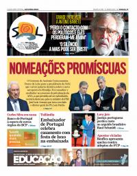 capa Jornal SOL de 29 janeiro 2018