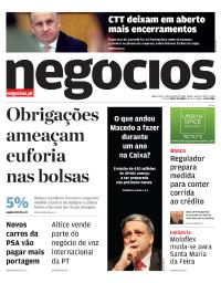 capa Jornal de Negócios de 1 fevereiro 2018