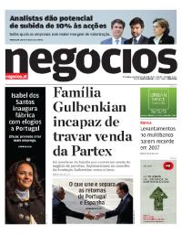 capa Jornal de Negócios de 6 fevereiro 2018