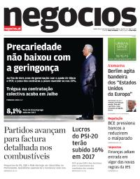 capa Jornal de Negócios de 8 fevereiro 2018