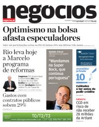 capa Jornal de Negócios de 19 fevereiro 2018