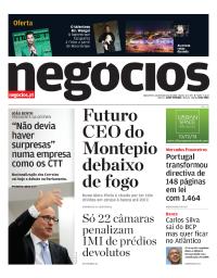 capa Jornal de Negócios de 22 fevereiro 2018