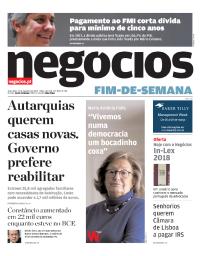 capa Jornal de Negócios de 23 fevereiro 2018