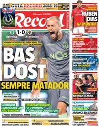 capa Jornal Record de 1 agosto 2018