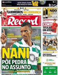 capa Jornal Record de 1 outubro 2018