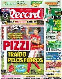 capa Jornal Record de 2 agosto 2018