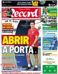 capa Jornal Record de 2 outubro 2018