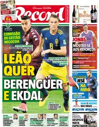 capa Jornal Record de 8 julho 2018