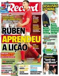 capa Jornal Record de 9 outubro 2018