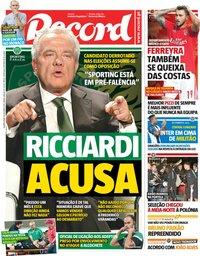 capa Jornal Record de 10 outubro 2018