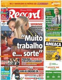 capa Jornal Record de 11 outubro 2018