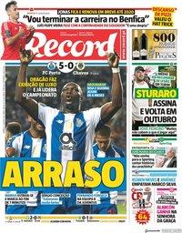capa Jornal Record de 12 agosto 2018