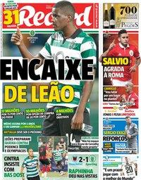 capa Jornal Record de 13 julho 2018