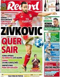 capa Jornal Record de 13 outubro 2018