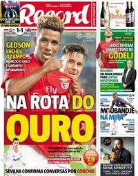 capa Jornal Record de 15 agosto 2018