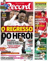 capa Jornal Record de 15 outubro 2018