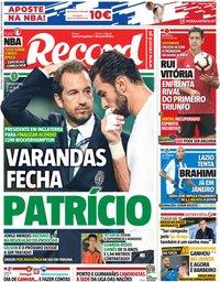 capa Jornal Record de 16 outubro 2018