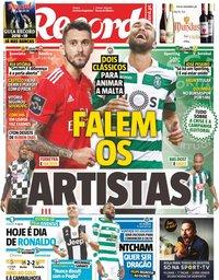 capa Jornal Record de 18 agosto 2018