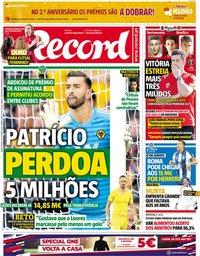 capa Jornal Record de 18 outubro 2018