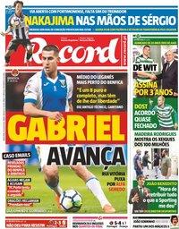 capa Jornal Record de 20 julho 2018
