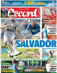 capa Jornal Record de 20 agosto 2018
