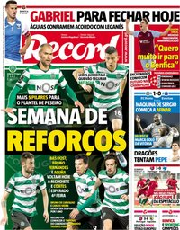 capa Jornal Record de 23 julho 2018