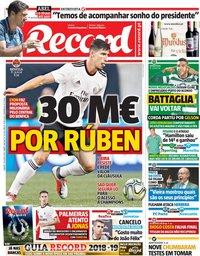 capa Jornal Record de 28 julho 2018