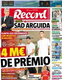 capa Jornal Record de 30 agosto 2018