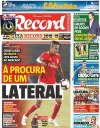 capa Jornal Record de 31 julho 2018