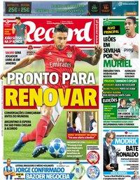 capa Jornal Record de 31 agosto 2018