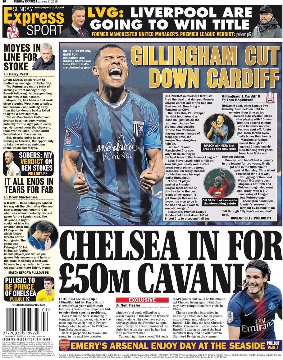 32bcb8bbf Capa Jornal Daily Express Sport - 6 janeiro 2019 - capasjornais.pt