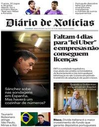 capa Diário de Notícias de 27 outubro 2018