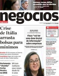 capa Jornal de Negócios de 24 outubro 2018