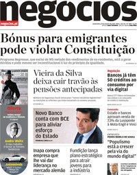 capa Jornal de Negócios de 25 outubro 2018