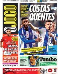 capa Jornal O Jogo de 1 novembro 2018