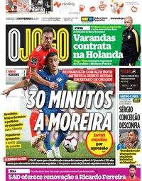 capa Jornal O Jogo de 3 novembro 2018