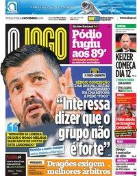 capa Jornal O Jogo de 6 novembro 2018