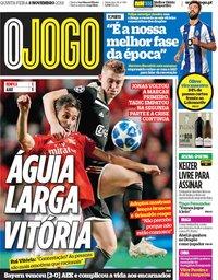 capa Jornal O Jogo de 8 novembro 2018