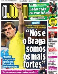 capa Jornal O Jogo de 9 novembro 2018