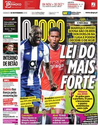 capa Jornal O Jogo de 10 novembro 2018