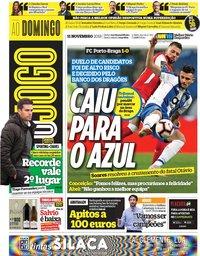 capa Jornal O Jogo de 11 novembro 2018