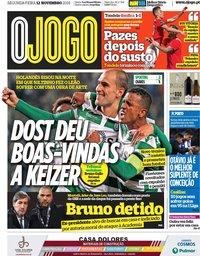 capa Jornal O Jogo de 12 novembro 2018