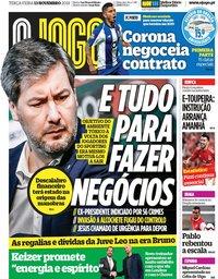 capa Jornal O Jogo de 13 novembro 2018