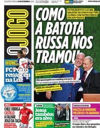 capa Jornal O Jogo de 14 novembro 2018