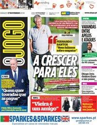 capa Jornal O Jogo de 17 novembro 2018