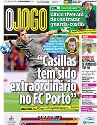 capa Jornal O Jogo de 19 novembro 2018