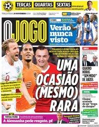 capa Jornal O Jogo de 20 novembro 2018